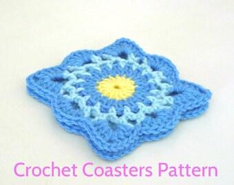 Gradient Blue Coasters Pattern, Crochet Coaster Pattern 014, Instant Download, Crochet PDF Pattern
