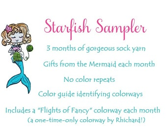 NEW - Pay by the Month - Starfish Sampler - 12 yd sock yarn mini skeins, 3 month Subscription