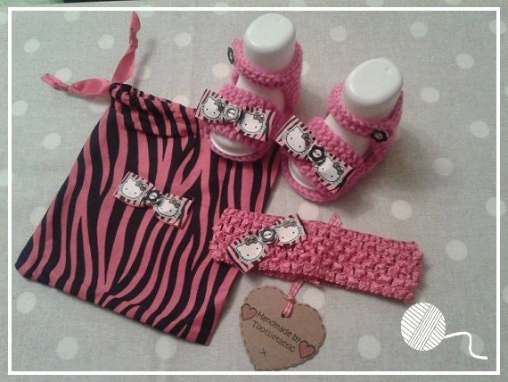 Hello Kitty Baby Gift Sets : Hand knitted pink zebra hello kitty baby gift set girl