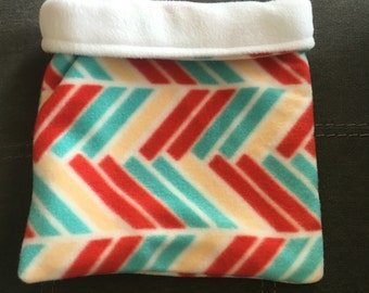 Red and Blue Chevron Fleece and White Fleece Snuggle Bag