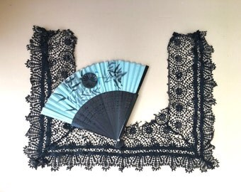 Beautiful Victorian Black Lace and Satin Mourning Collar for Craft Project