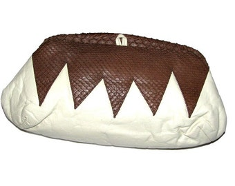 Vintage 70s 80s LIOTTA For TJ & COMPANY White Leather w/ Brown Snakeskin Zig Zag Clutch Bag