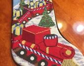 Vintage Christimas Stocking, Holiday Stocking, Santa claus stocking, decorations, cross stitch design by MarlenesAttic