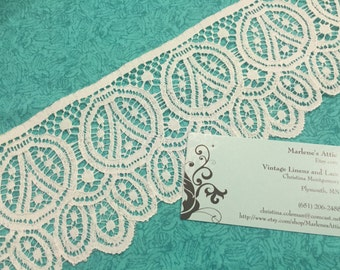 1 yard of 4 inch White Chantilly Raschel lace trim for sewing, crafts, costume, housewares, couture by Marlenes - Item 1HH