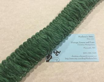1 yard of 1 1/2 inch Green fringe trim, chainette fringe, yarn ribbon trim for jewelry, crafts by MarlenesAttic - Item 4KK