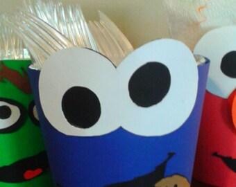 Sesame Street Party Utensils Holder Elmo Cookie Monster Oscar the Grouch