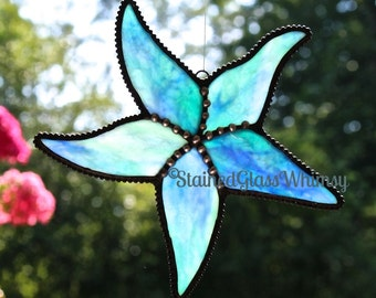 Stained Glass STARFISH Suncatcher, Translucent Cobalt Blue, Aqua with White,Beach Stained Glass,USA Handmade Original Design, Glass Starfish