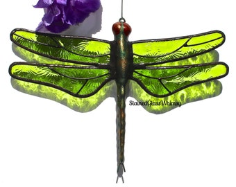 Stained Glass DRAGONFLY Suncatcher  Lime / Spring Green Wings Textured , Handcast Metal Body , USA Handmade