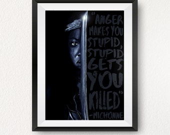 The Walking Dead Michonne Painting Print