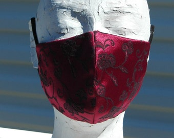 Mens Red Brocade Face Mask