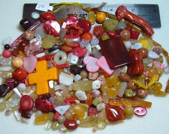 DESTASH - Semi-Precious Stone Lot - variety - yellows, oranges, reds - beads SP717
