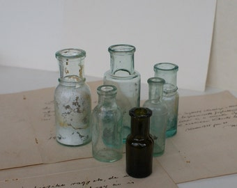Antique Medical/Perfume Bottles - Apothecary Bottles - Medium, Small and Extra Small - 1930's