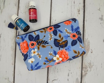 Rifle Paper Co fabric Essential Oil Storage Bag, Travel Bag, holds (12-14)