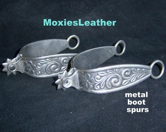 Cowboy boot metal spurs