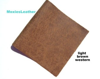 light brown leather western leather - light brown distress leather - used look leather - leather scraps - leather crafts - remant leather