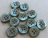 pretty silvery and shiny moss green eco friendly sewing buttons --matchng lot of 12