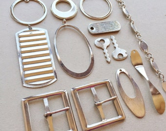 destash of recycled silver tone metal jewelry components for creating assemblages and ooak jewelry--mixed lot of 13