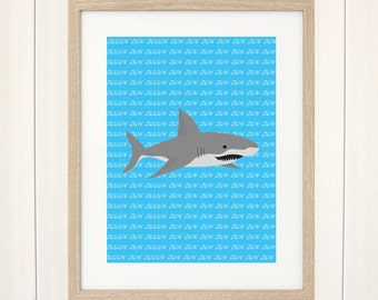 Shark Print, Shark Art Print, Jaws Art