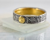 Rune Wedding Ring with Gold Details - Morte d'Arthur Snippet