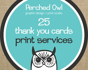 25 Professionally Printed Fold Over Thank You Cards with Envelopes - ADD ON - to any Fold Over Thank You Card Design