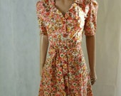 70s Does 40s Vintage Floral Tea Revere Collar Tea Dress.