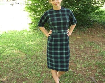 Vintage 1950's Tartan Plaid Wiggle Dress 50's Wool Winter Dress