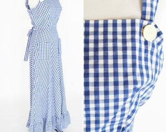 Vintage 1970's Blue Gingham Maxi Prairie Dress - Full length adjustable Strap 70's Dress - Casual Cotton Summer Dress - Ladies Size Small