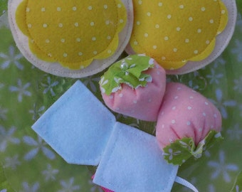 Tea Time: Tea For Two Play Set, Felt Tea Party, Felt Strawberries, Tea Party Food, Play Food, Waldorf, Christmas Gift For Girls, Birthday