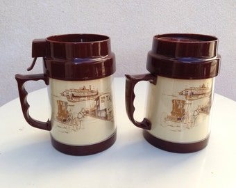 Vintage thermo mugs transport theme with lid for hot cold beverage brown plastic American transport theme
