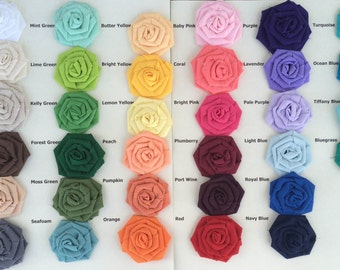 Cotton Rosettes-Choose Your Colors- 34 Colors Available- 3 Sizes Available-Weddings/DIY-Bulk Rosettes-Fabric Flowers-Roses