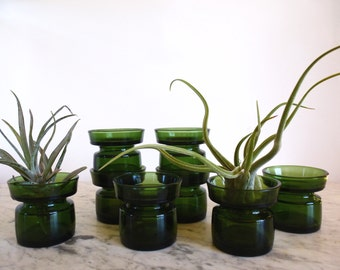 Vintage Dansk Green Glass Airplant and Candle Holders