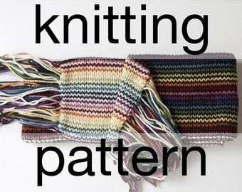 Double Rainbow Scarf Pattern – Hand Knit Scarf Pattern – Knit Scarf Pattern