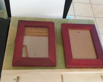 two  vintage small wood picture frames with glass with hanging natural cord. 14.00 for both