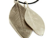Large Silver Leaf Pendant, Oxidized Silver  Charm Necklace Leaves  Organic Jewelry Botanical Artisan Handmade by Sheri Beryl