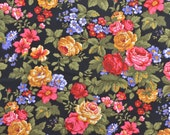Vintage Cotton Floral Fabric, Sewing Fabric, Cotton Quilting Fabric, Rose Fabric, Bright Colors, Black Floral Fabric - 1 3/8 Yard - CFL1710