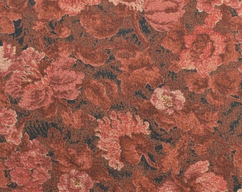 Floral Dress Fabric, Rust Fabric, Brown Floral Fabric, Textured Fabric, Rayon Blend, Rust and Salmon, Crepe Fabric - 1 Yard - DF1864