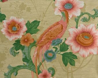 Cotton Upholstery Fabric Remnant, Bird Fabric, Home Decor Fabric, Asian Fabric, Cotton Fabric, Cotton Floral Fabric 1 3/8 Yard - UF1635