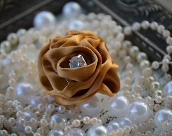 "Satin Ruffle flowers, Small Gold Satin Flower, 1 3/4"" Satin Flower, Fabric Flowers, Headband accessories , Hair Accessories"