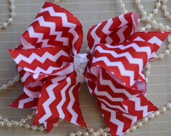 "Red Chevron 5"" Hair Bow, Pinwheel Hair Bow, Spike Hair Bow, Hair Bow Alligator Clip,  Hair Boutique Bow"