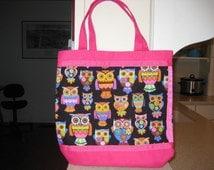 Mod Pink Orange & Black Owl Tote, Pink Bag, Reusable Grocery Bag, Laptop Bag