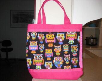 Mod Pink Orange & Black Owl Tote, Pink Bag, Reusable Grocery Bag, Laptop Bag, Ohio Tote