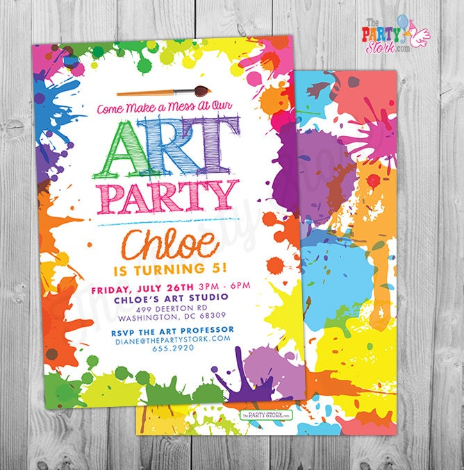 Art Paint Party Invitations Printable Birthday Invitation – Kids Birthday Invitations Printable