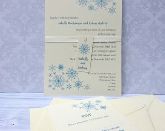 Snowflake wedding invitation sample - ideal for a winter or Christmas wedding