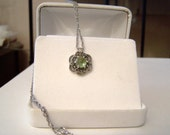 Reserved Genuine Peridot Gemstone Marcasite Pendant Necklace Sterling Silver Rose Cut Cabochon Floral Filigree Artisan Altered Vintage