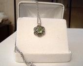 Reserved Genuine Peridot Gemstone Marcasite Pendant Necklace Sterling Silver Rose Cut Cabochon Floral Filigree Artisan Altered Vintage