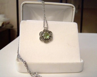 Genuine Peridot Gemstone Marcasite Pendant Necklace Sterling Silver Rose Cut Cabochon Floral Filigree Artisan Altered Vintage