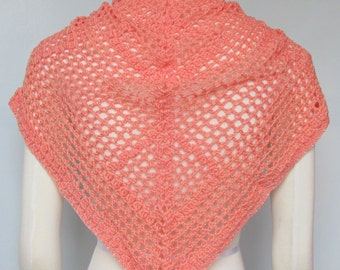 Peaches and Pearls mesh Shawlette crocheted handmade lace wrap