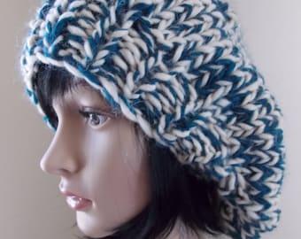 Teal Beret, cream and blue green, wooly slouchy hat, cobalt hand knit beanie, tam o'shanter, basque beret, aquamarine toque, sea blue hat