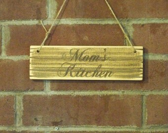 Carved Mom's Kitchen Sign Free Shipping  Distressed Wood Plaque