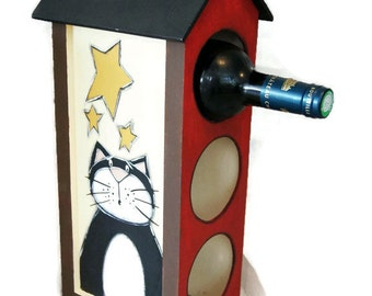 Wine bottle display with cats - Wine bottle rack with cats - Wine bottle furniture
